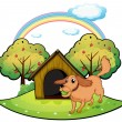 Stock Vector: Dog playing outside doghouse near apple tree