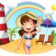 A girl enjoying summer - Stock Vector