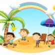 Vector de stock : Four boys having outing at beach