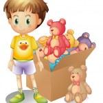 A boy beside a box of toys — Stock Vector