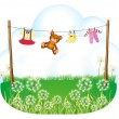 Stock Vector: Baby things hanging above weeds