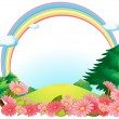 Stock Vector: Colorful rainbow at hilltop