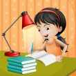 A girl writing with a lampshade - Stock Vector