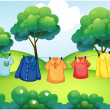 Washed clothes hanging at the top of the hills - Stock Vector