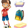 Soccer player with his backpack and bathroom stuffs — Stock Vector #23029580