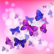 Постер, плакат: A pink stationery with a group of butterflies
