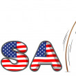 The USA letters with a girl above a stick — Stock Vector