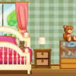 Stock Vector: Clebedroom with lot of toys