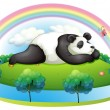 An island with a big panda sleeping - Stock Vector