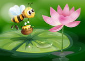 A bee with a pot of honey above a waterlily — Stock Vector