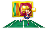 The flag of Sri Lanka and the cheerdancer with yellow pompoms — Stock Vector