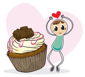 A cupcake and a sketch of a boy with a heart — Stock Vector