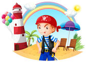 A pirate at the beach — Stock Vector