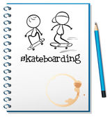 A notebook with two skateboarding in the cover — Stock Vector