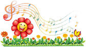 A red flower in the garden with musical notes — Stock Vector