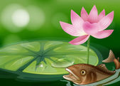 A pond with a fish, a waterlily and a flower — Stock Vector