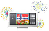Three kids inside the scoreboard with the flag of Norway — Stock Vector