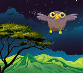 An owl flying in the middle of the night — Stock Vector