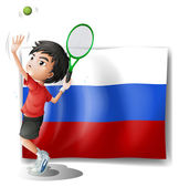 A boy playing tennis in front of the Russian Federation flag — Stockvector