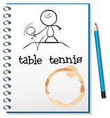 Ein notebook mit einer skizze einer person tischtennis spielen — Stockvektor