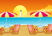 Two umbrellas and four chairs at the beach — Stock Vector