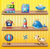 Toys arranged neatly in the wooden shelves — Stock Vector