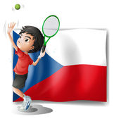 The flag of Czech Republic and the tennis player — Stock Vector