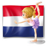The Netherlands flag and the gymnast — Stock Vector