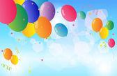 Renkli balonlar gökyüzünde yüzen — Stok Vektör