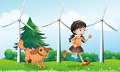 A girl playing with her dog near the windmills — Stock Vector