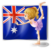 A young girl dancing in front of the Australian flag — Stock Vector