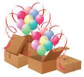 The balloons and the boxes — Stock Vector