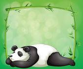 Een briefpapier met een bamboe frame en een panda — Stockvector
