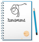 A notebook with a sketch of a person doing a handstand — Stock Vector