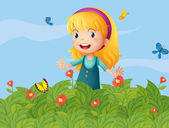 A girl with butterflies at the garden — Stock Vector