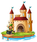 A castle with an old man near the pot of gold coins — Stock Vector