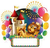 A lion king lying in front of a castle with balloons and firewor — Vecteur
