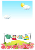 Hanging clothes at the hilltop — Stock Vector
