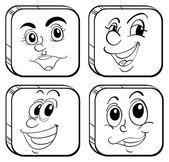 Four different kinds of square faces — Stock Vector