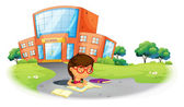 A girl writing in the hole near the school — Stock Vector