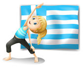 The flag of Greece and a young girl exercising — Stock Vector