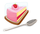 A slice of cake and a tablespoon — Stock Vector