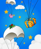 Three parachutes with gifts — Stock Vector