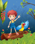 A boy with a bird at the forest — Stock Vector