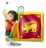 A boy playing tennis in front of the Sri Lanka Flag — Stock Vector