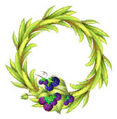 The violet berries at the bottom of a leafy round border — Stock Vector