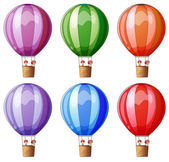 Six colorful hot air balloons — Stock Vector