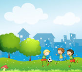 Three kids playing soccer in the hill — Stock Vector
