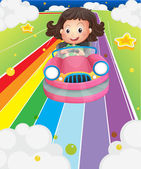 A little girl riding in a pink car — Stock Vector