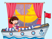 A ship inside the house with a girl reading — Stock Vector